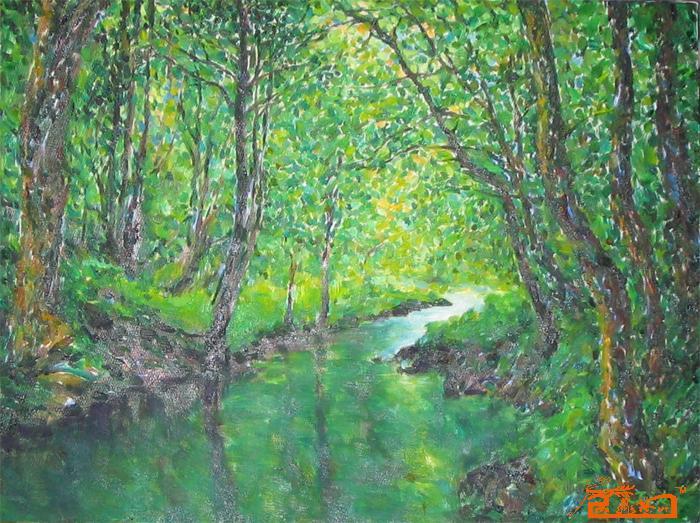 名家 吉子榕 国画 - 穿过树林的小溪