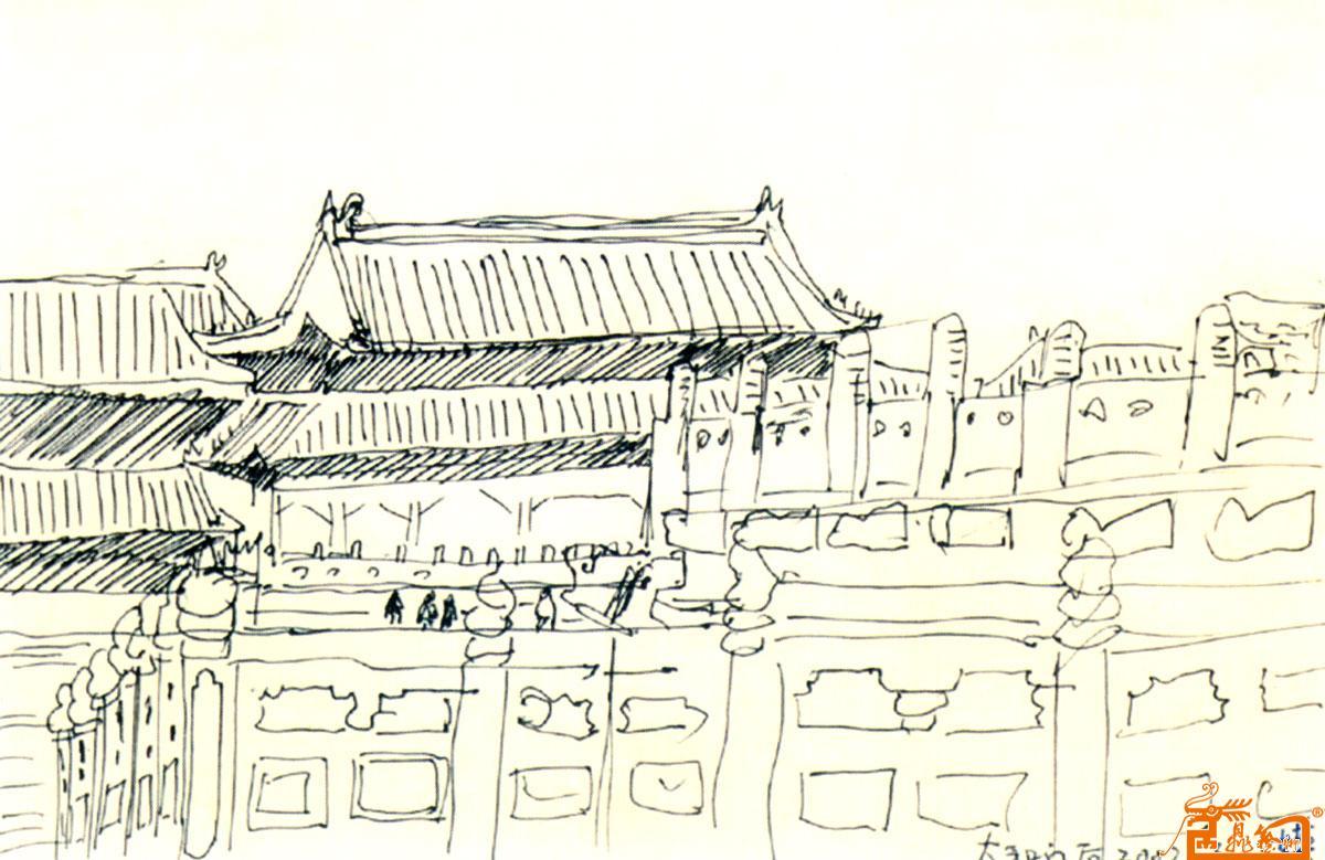 故宫钢笔手绘高清
